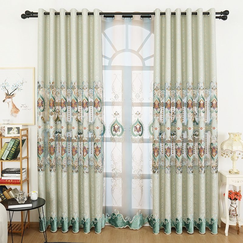 Elegant Royal Green Lace and Hollowed-out Patterns Classy Chenille Embroidery Custom Grommet Curtains
