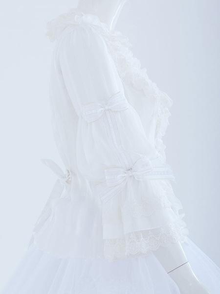 Milanoo Rococo Lolita Blouse Chiffon Lace Trim Bow Collar Ruffles Black Lolita Top