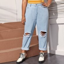 Plus Light Wash Ripped Detail Jeans