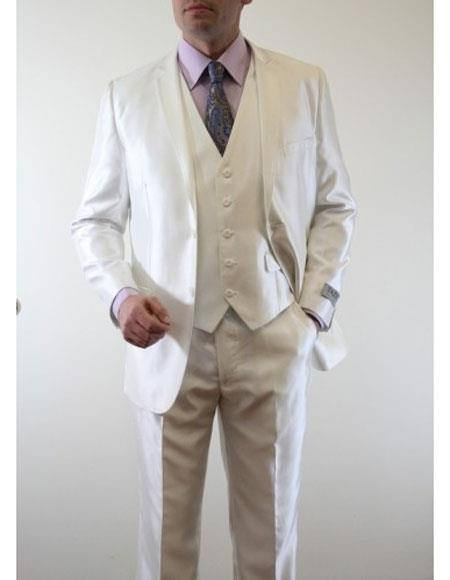 Men's Metallic Silky Shiny Single 3 Piece Suit Slim Fit Ivory Suit