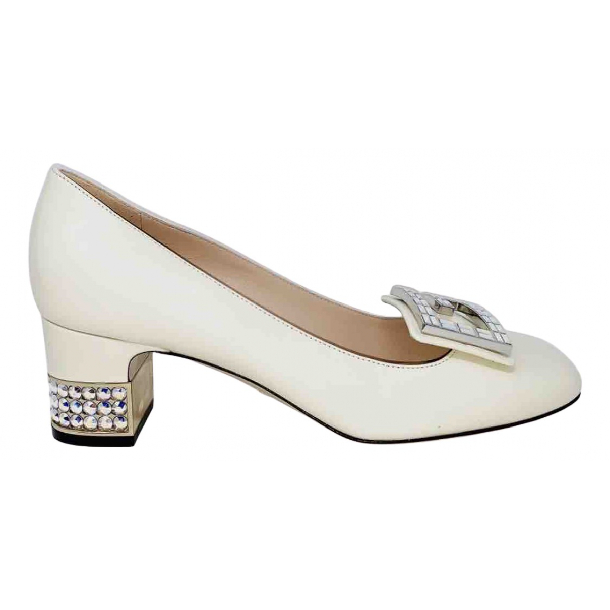 Gucci Malaga White Leather Heels for Women 36 IT