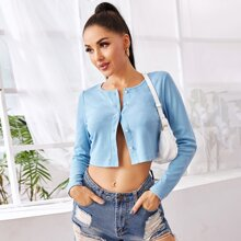 Pearl Button Front Crop Tee