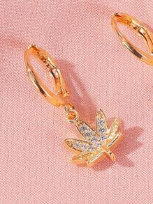 Leaf Charm Drop Earrings