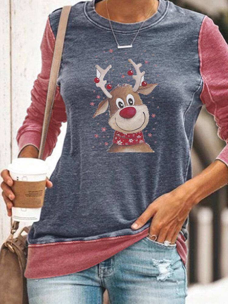 Christmas Print Crewneck Plus Size T-shirt for Women