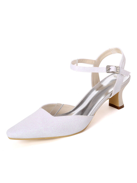 Milanoo Wedding Shoes White Sequined Cloth Buckle Square Toe Chunky Heel Bridal Shoes