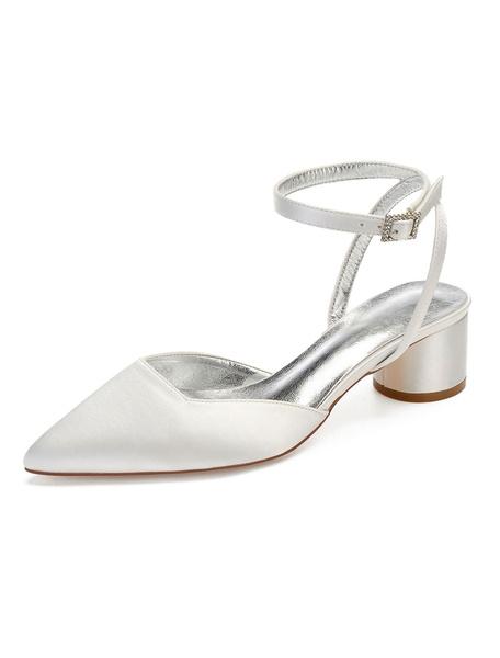 Milanoo Satin Wedding Guest Shoes Pointed Toe Slingbacks Chunky Heel Bridesmaid Shoes Bridal Shoes