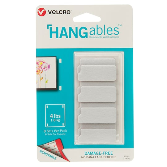"""Hangables™ 1.75"""" X 0.75"""" White Removable Wall Fastener Strips, 3 ct Bundle By Velcro   Michaels®"""