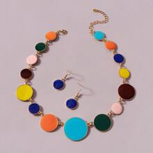1pc Colorful Disc Necklace & 1pair Drop Earrings