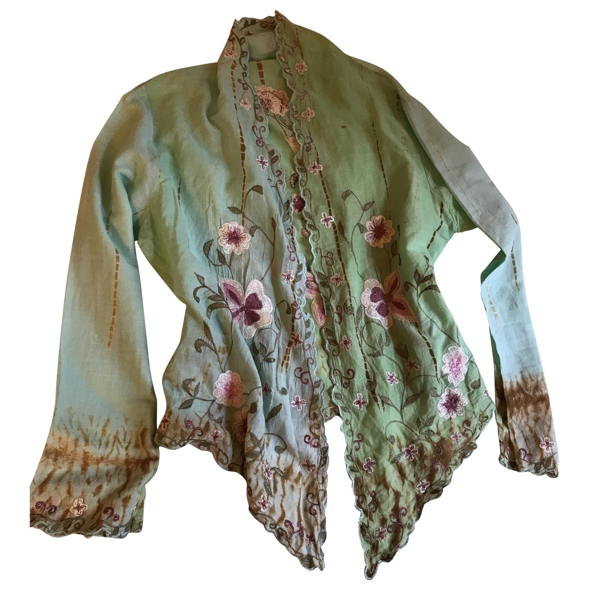 Non Signé / Unsigned \N Green Cotton  top for Women 38 FR