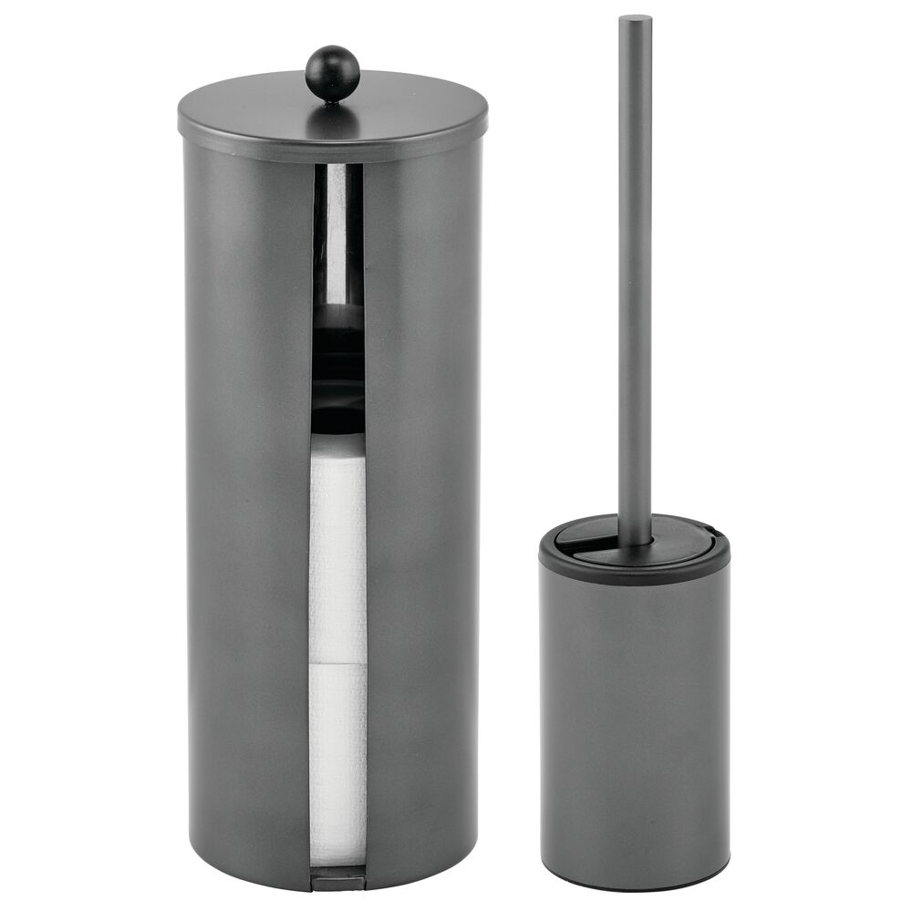 Metal Toilet Paper Canister and Bowl Brush - Set of in Graphite Gray, by mDesign