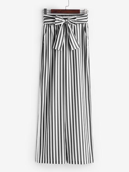 Yoins Black&White Stripe Pattern Self Tie Wide Leg Pants