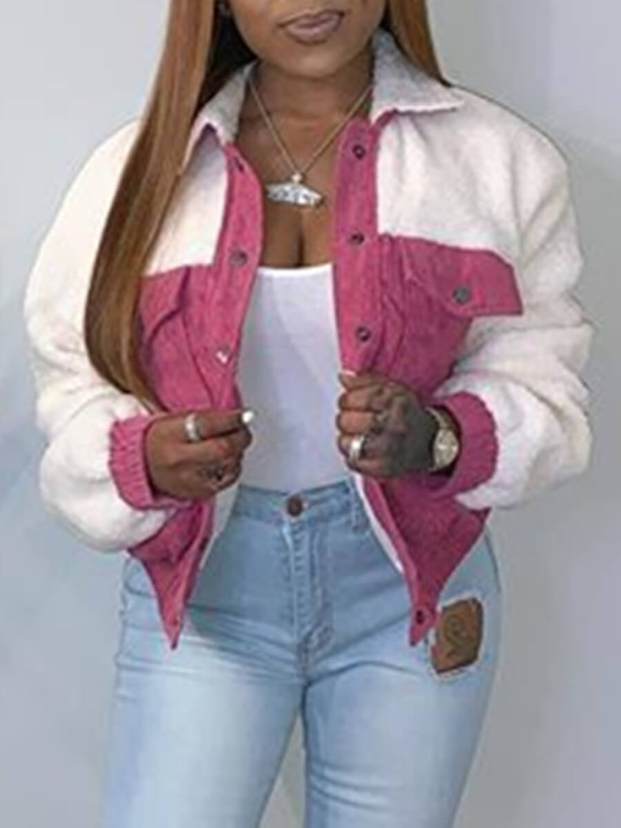 LW Lovely Stylish Turndown Collar Patchwork Pink Faux Fur