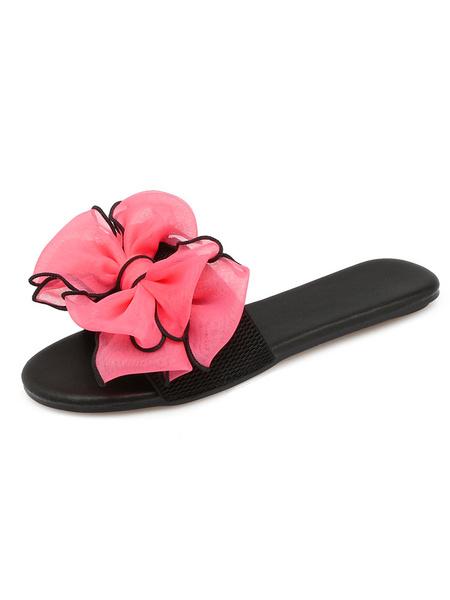 Milanoo Women Sandal Slippers Peach Open Toe Bow Backless Flat Sandals Slip On Beach Sandals