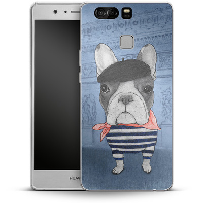 Huawei P9 Silikon Handyhuelle - French Bulldog with Arc de Triomphe von Barruf