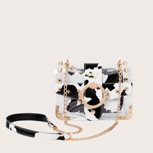 Spiked Decor Cow Pattern Crossbody Bag With Inner Bag