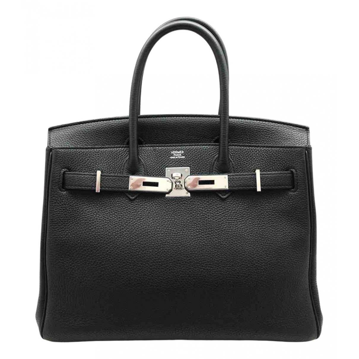 Hermes Birkin 30 Handtasche in  Schwarz Leder