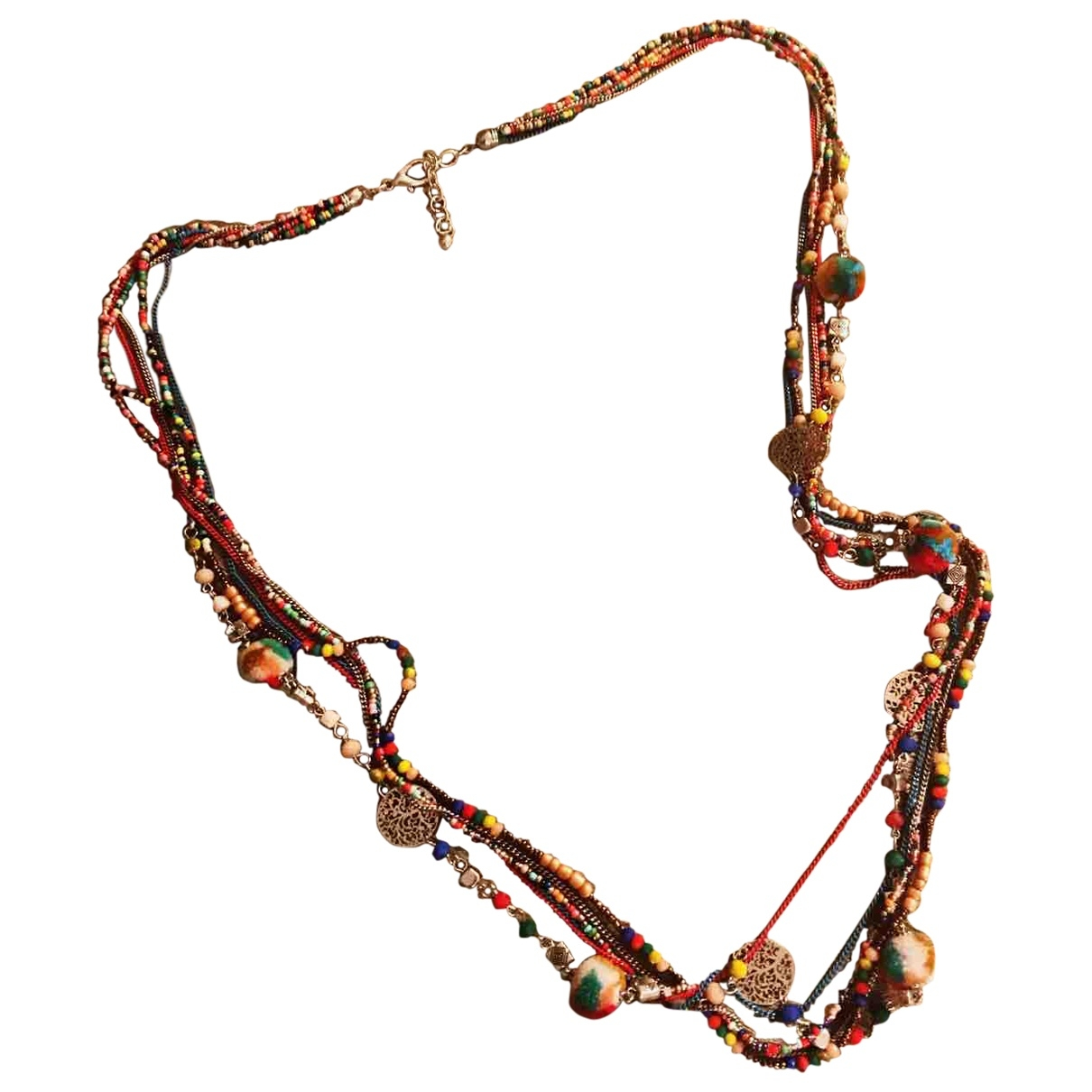 Non Signe / Unsigned Corail Kette in  Rot Stahl