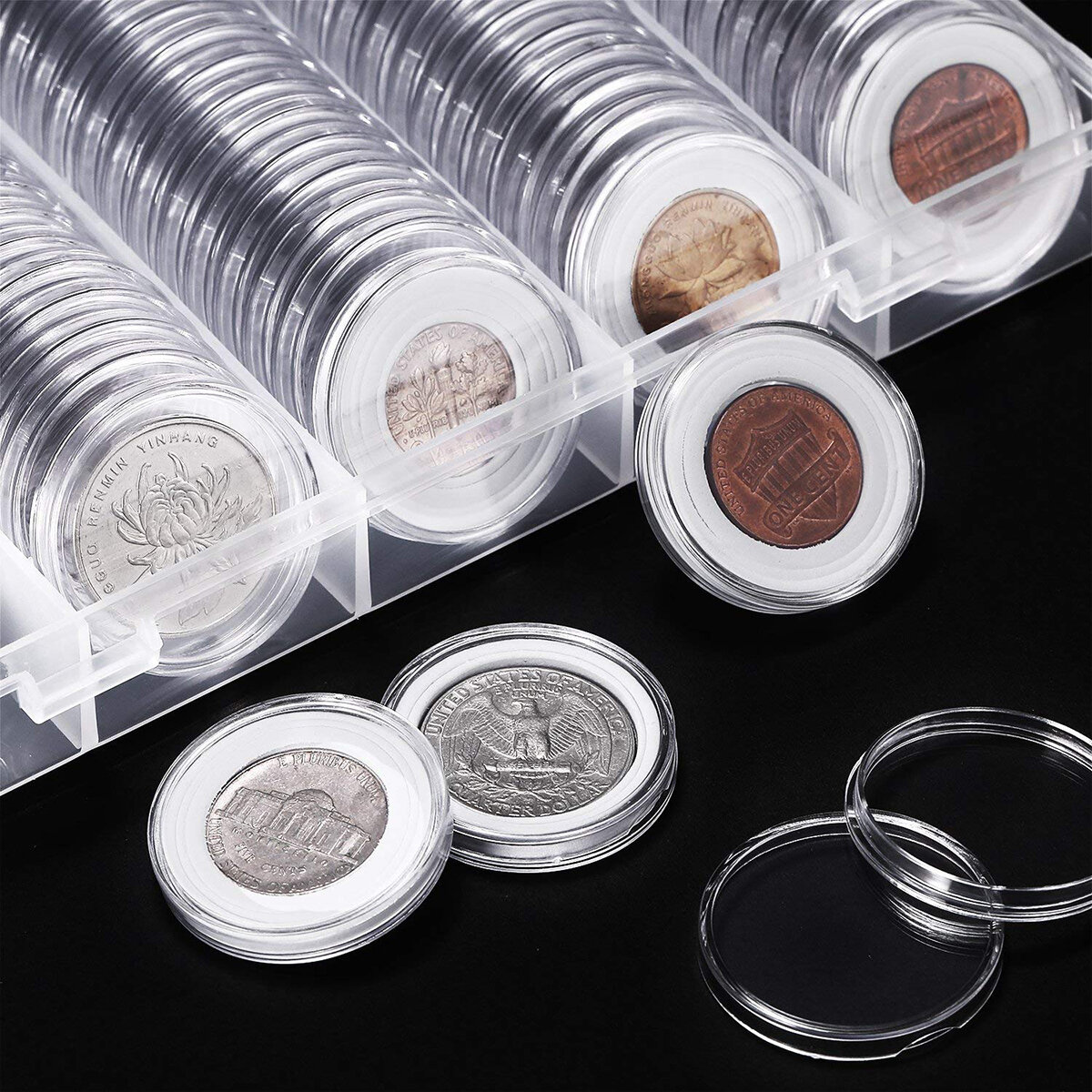 100pcs 20/25/27/30mm Applied Clear Round Cases Coin Storage Capsules Holder Coin Collection Supplies