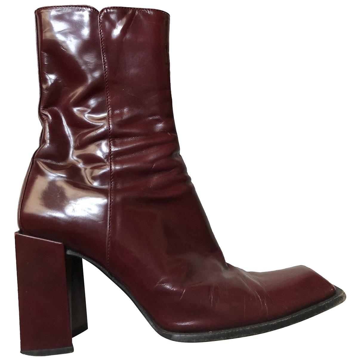 Michel Perry - Boots   pour femme en cuir - bordeaux