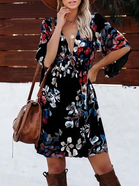 Milanoo Summer Dresses V Neck Floral Print Short Sundress