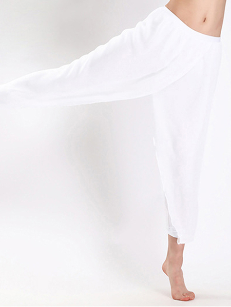 Yoins Active Net Yarn Quick Drying Necking Design Sports Leggings in White
