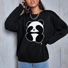 Drop Shoulder Panda Patched Oversize Pullover