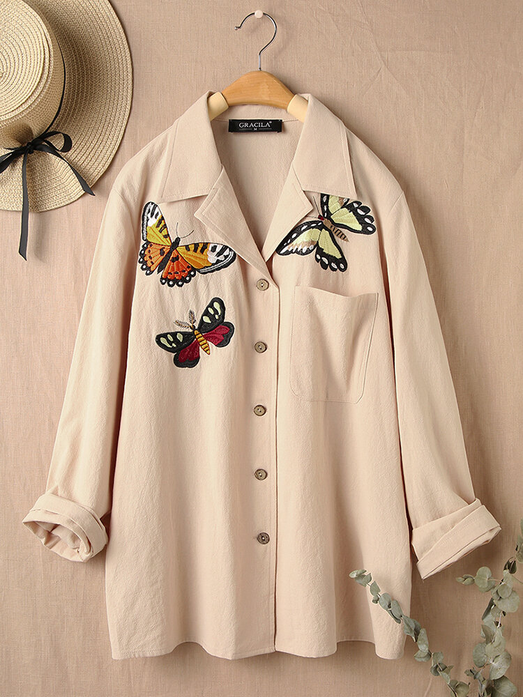 Butterfly Embroidered Long Sleeves Casual Lapel Blouse With Pocket For Women