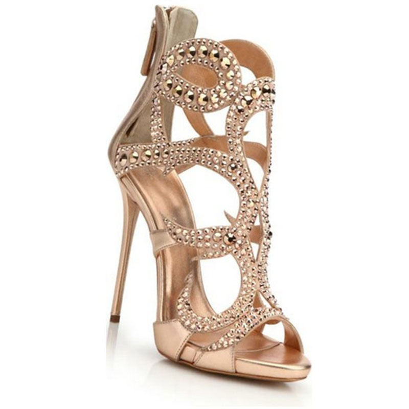 Ericdress Open Toe Stiletto Heel Zipper Hollow Sandals