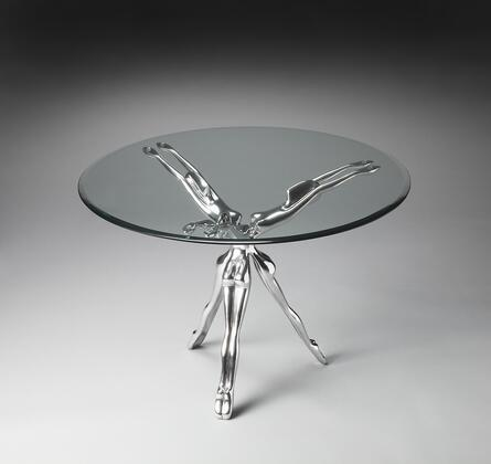 Blissful Collection 2599025 Accent Table with Modern Style  Round Shape and Aluminum Material in Metalworks