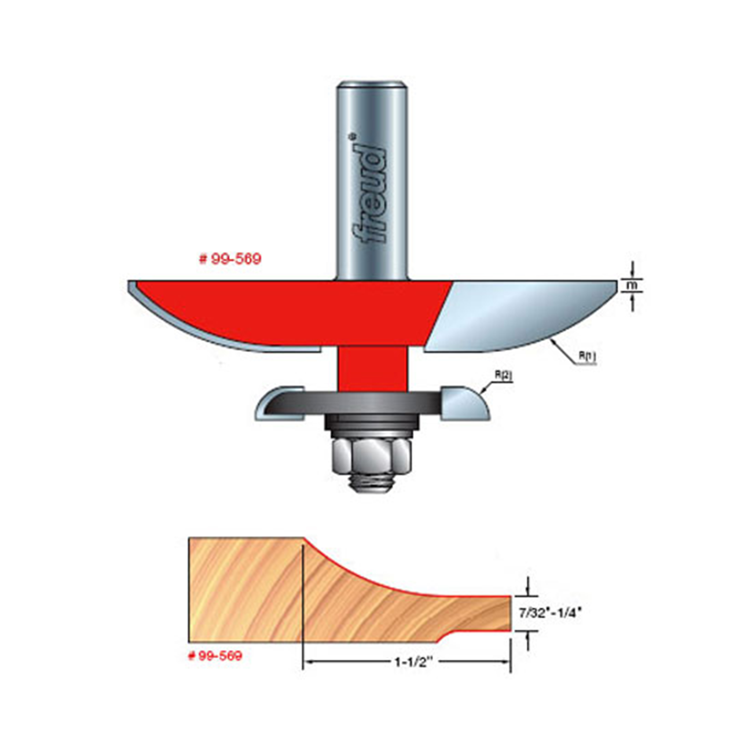 99-569 Quadra-Cut Large Raised Panel with Back-Cutter Router Bit Cove Pattern 1/2