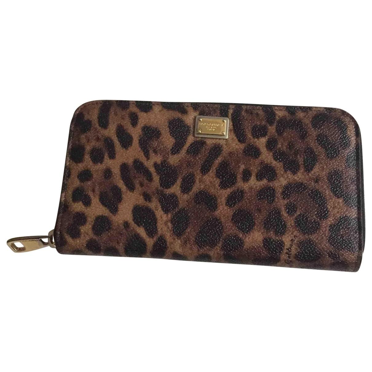 Dolce & Gabbana - Portefeuille   pour femme en cuir - marron