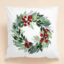 Wreath Print Cushion Cover Without Filler