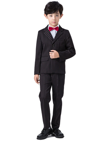 Milanoo Ring Bearer Suits Polyester Cotton Long Sleeves Waistcoat Pants Overcoat Cravat Shirt Black Formal Party Suits