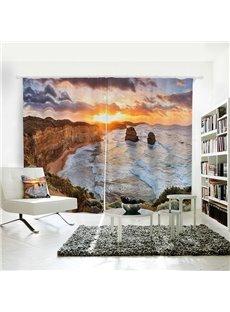 Goldern Sunset White Tidewater Pattern 3D Polyester Curtain