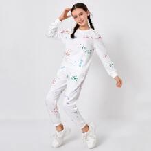 Girls Graffiti Print Pullover & Joggers Set