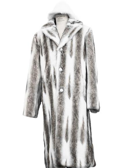 Mens Long Length Faux Fur Coat Full Length Topcoat Matching Hat Coffee