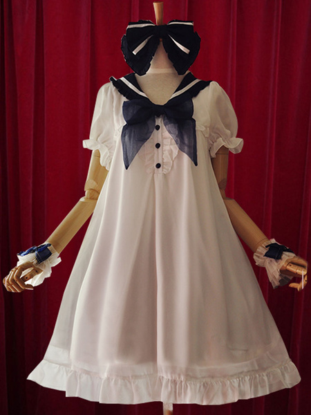 Milanoo Navy Lolita Dress Bow A-Line Chiffon Dress for Women