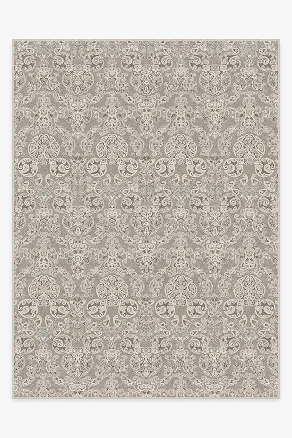 Washable Rug Cover   Mickey Damask Stone Rug   Stain-Resistant   Ruggable   9'x12'