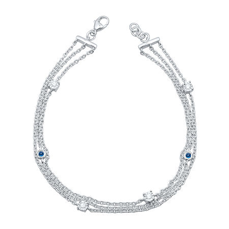 Marvel Universe Fine Jewelry By Marvel Diamond Accent Genuine Blue Topaz Sterling Silver Marvel 7.5 Inch Tennis Bracelet, One Size , No Color Family