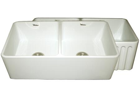 WHFLPLN3318-BISCUIT Reversible series fireclay sink with smooth front apron one side and fluted front apron on opposite