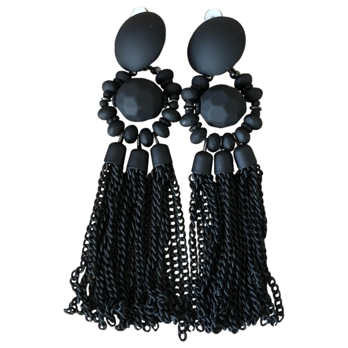 Non Signé / Unsigned \N Black Pearls Earrings for Women \N