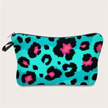 Neon Mint Blue Leopard Makeup Bag