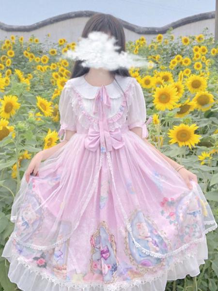 Milanoo Sweet Lolita OP Dress Cat Family Short Sleeve Lolita One Piece Dresses