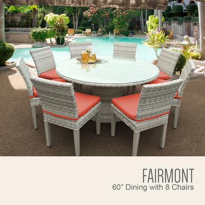 FAIRMONT-60-KIT-8C-TANGERINE Fairmont 60 Inch Outdoor Patio Dining Table with 8 Armless Chairs with 2 Covers: Beige and