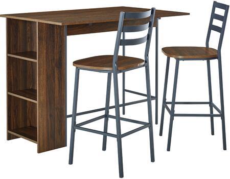 TW48LNSB3PDW 3 Piece Drop Leaf Counter Table Set in Dark