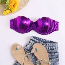 Metallic Scallop Trim Bikini Top