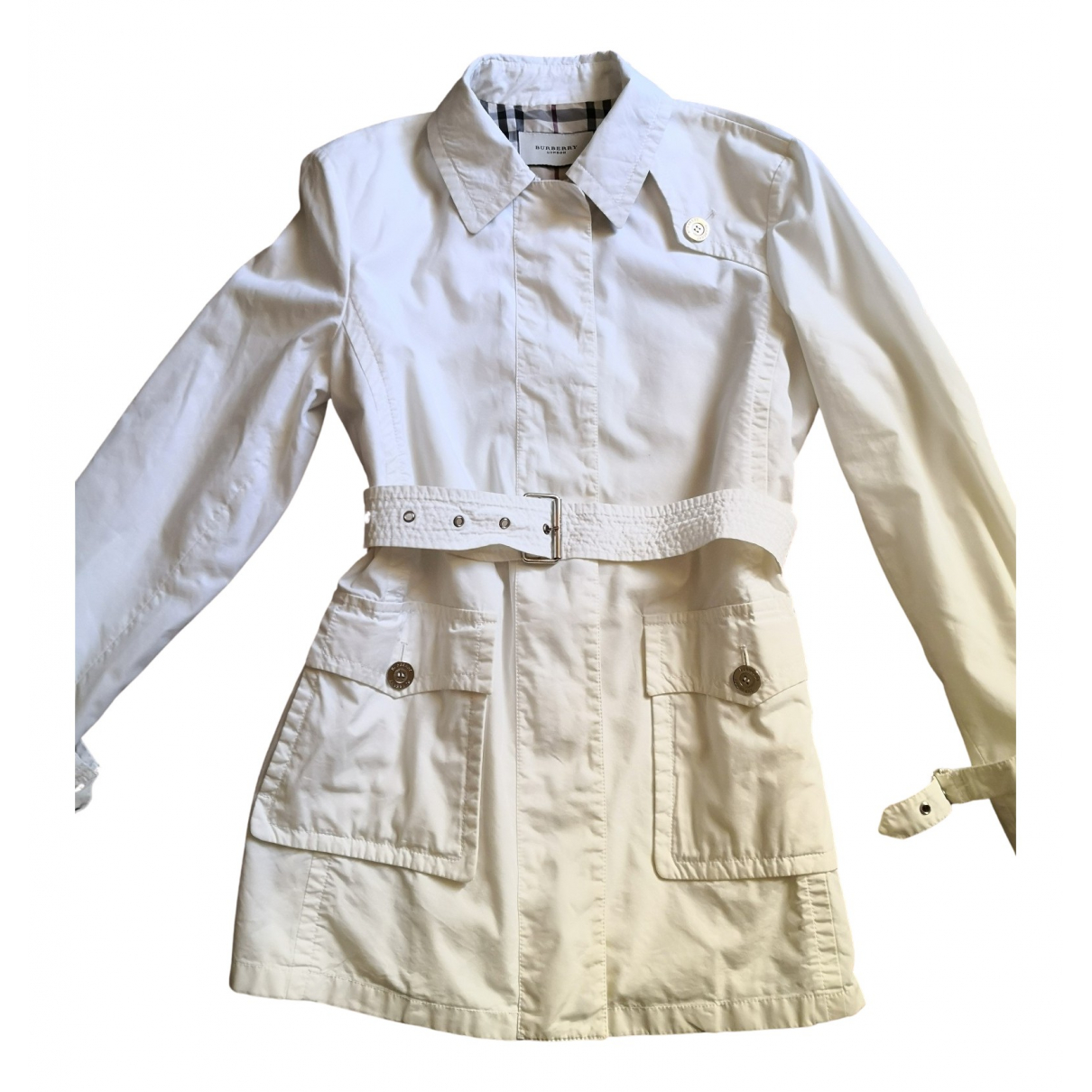 Burberry - Trench   pour femme en coton - blanc
