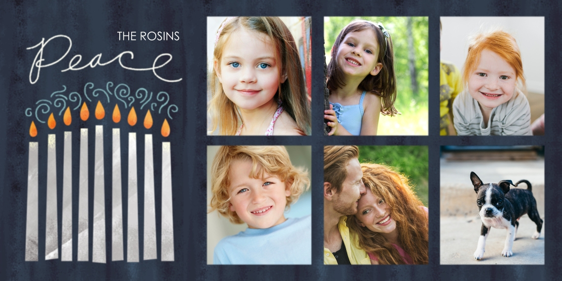 Hanukkah Photo Cards Flat Glossy Photo Paper Cards with Envelopes, 4x8, Card & Stationery -Peaceful Hanukkah