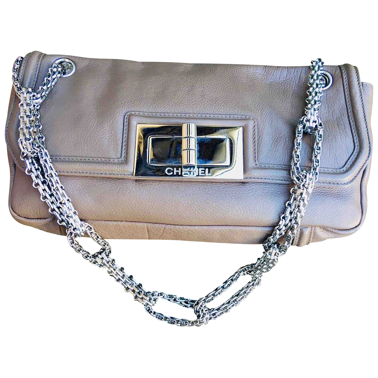 Chanel 2.55 Khaki Leather handbag for Women \N