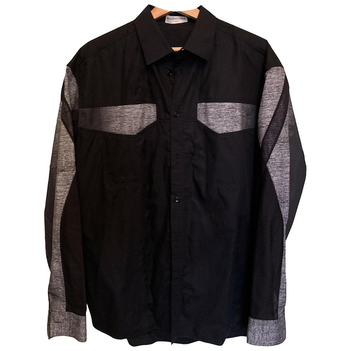 Balenciaga \N Black Cotton Shirts for Men 38 EU (tour de cou / collar)